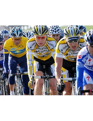2007 Tour de France winner Alberto Contador (second left) is one of the favourites to win this year's race