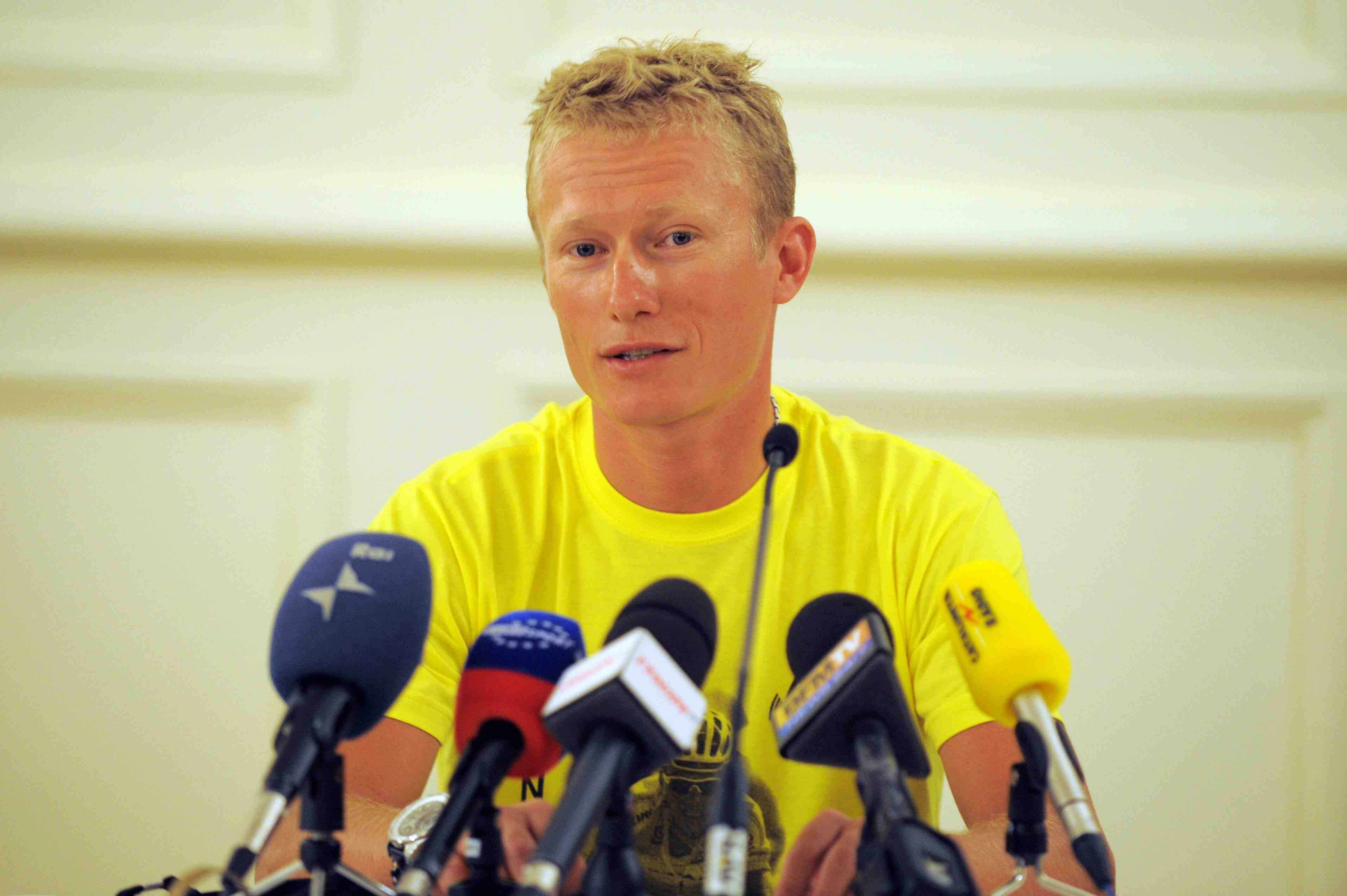 Kazakh rider Alexandre Vinokourov gives a press conference after being banned for doping (until July 24, 2009) on July 2, 2009 in the principalty of Monaco, two days ahead of the start of the 96th edition of the Tour de France.