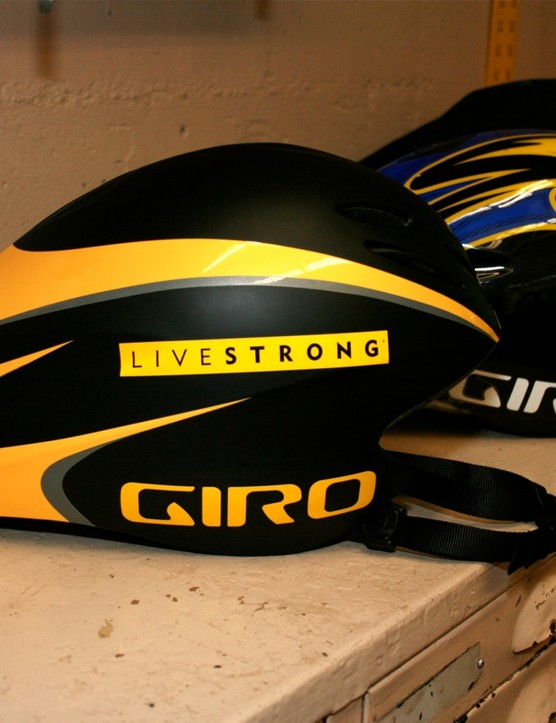Armstrong's early test helmet at the San Diego wind tunnel last November.