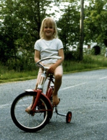 An ardent bicycle rider, even at age 3-1/2.