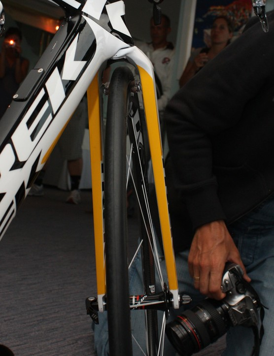 Trek claims the Speed Concept's widely spaced fork blades are faster than ones that are set close together.