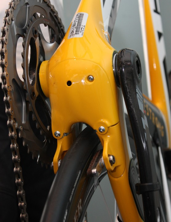 The rear brake is built right into the chain stays and the guts are tucked cleanly away behind an access plate.