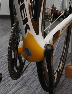 The bottom bracket area is particularly bulbous-looking from the front and features Trek's BB90 integrated bearing system.