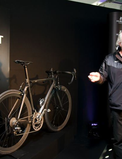 BMC owner Andy Rihs introducing the BMC All Black Hublot Team Machine.