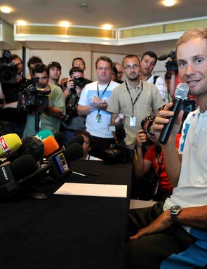 Tom Boonen faces the press in Monaco Friday, July 3, announcing his excitement to race the Tour.