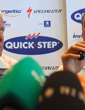 Tom Boonen (R) speaks as his QuickStep manager Patrick Lefevere looks on during a press conference at Meridien Beach Plaza hotel in Monaco on July 3, 2009.