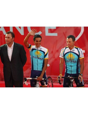 Astana team director Johan Bruyneel, Alberto Contador and Lance Armstrong, one big happy family...so far.