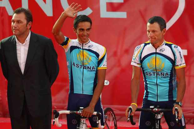 Astana team director Johan Bruyneel, Alberto Contador and Lance Armstrong, one big happy family...so far.