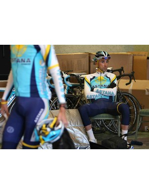 Astana Cycling Team rider Benjamin Noval of Spain prepares to go on a team ride during a training camp February 4, 2008 in Santa Rosa, California.