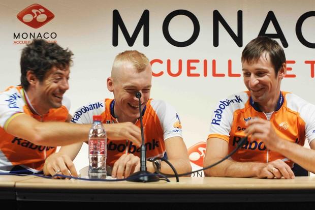 Rabobank teammates Oscar Freire (L), Robert Gesink and Denis Menchov.