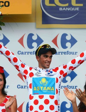 Alberto Contador placed second in Stage 1, and received the polka dot King of the Mountains jersey (but no red ribbon for his hair).