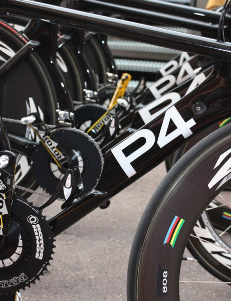 The Cervélo Test Team has finally completely traded in their P3 bikes for the speedy P4.