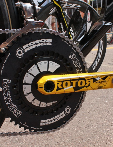 Rotor has provided Sastre with a specially finished pair of its 3D cranks.  All of the time trial bikes are also fitted with a specific version of the 3D with smooth crankarm surfaces, solid-sided chainrings and a full chainring disc instead of the usual five-arm unit.