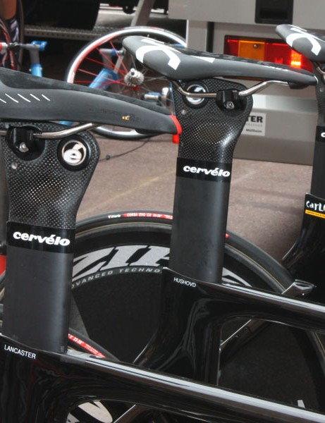 Cervélo Test Team riders used a wide range of saddle setbacks on their P4 aero bikes.