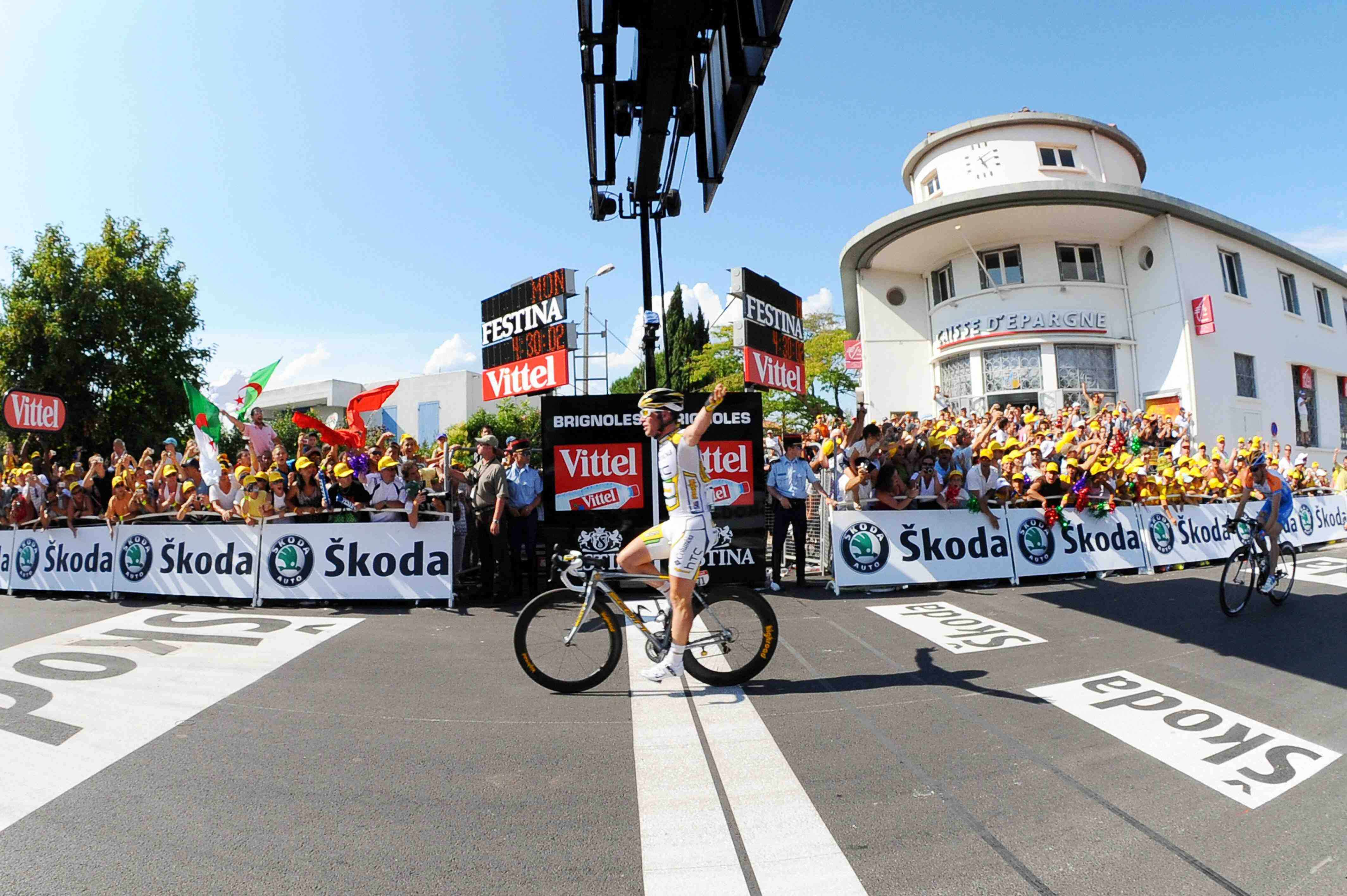 Columbia racer Mark Cavendish of Great Britain celebrates as he crosses the finish line on July 5, 2009, the 182km second stage of the Tour de France between Monaco and Brignoles.