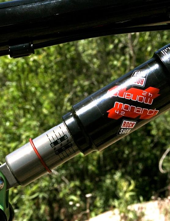 Rear shock absorption provided by the RockShox Monarch 4.2.