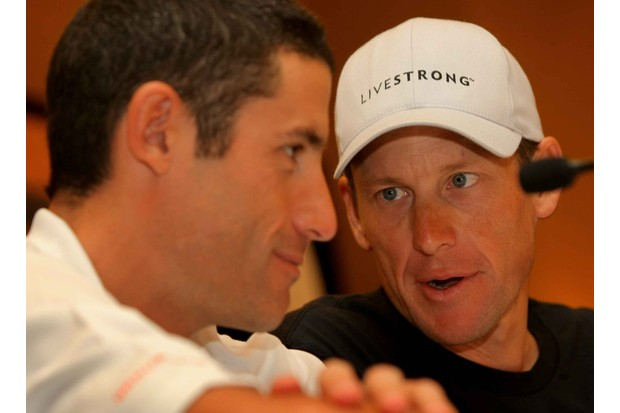 Former teammates George Hincapie (L) and Lance Armstrong during the pre-Tour of California press conference.
