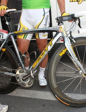 Mark Cavendish (Columbia-HTC) is shooting down the competition with this custom Scott Addict.