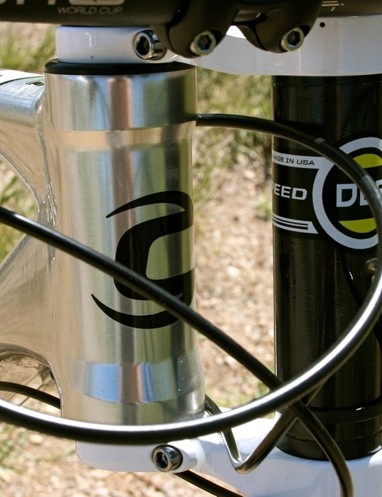 MAchined and integrated head tube up front for strength.