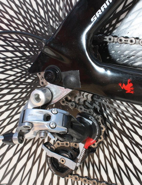 A small square of tape also covers up the rear derailleur hanger mounting bolt