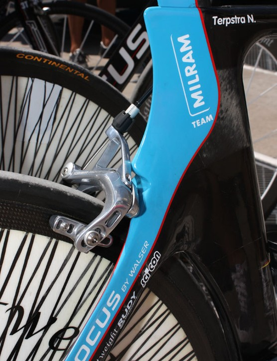 Milram bicycle supplier Focus have apparently given their time trial frames a bit more room out back so they can now accommodate the sponsor-correct SRAM Red brake caliper