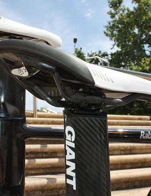 The three-position seatpost head will simulate seat tube angles from 74 to 78 degrees
