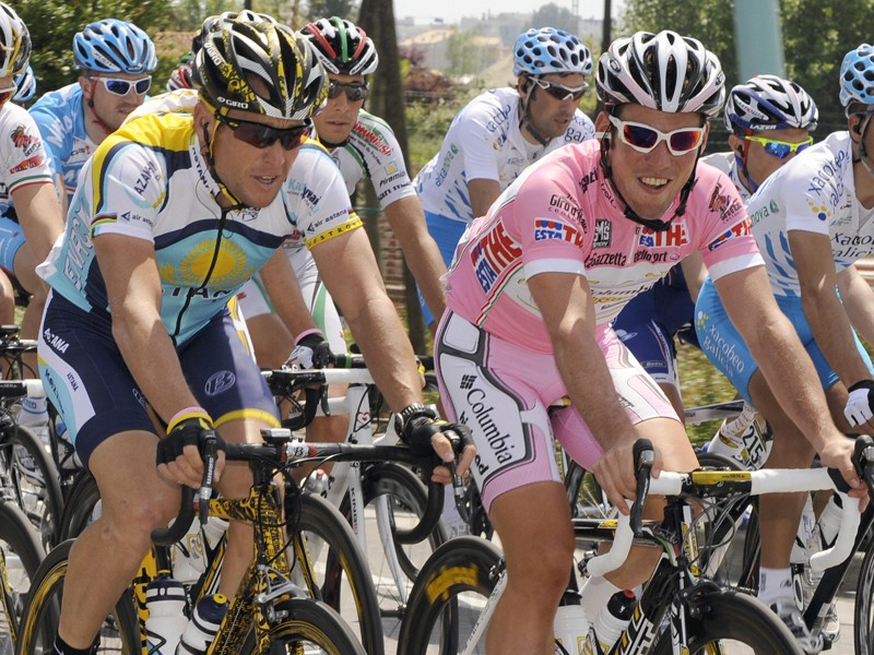 Lance Armstrong and Mark Cavendish, pictured during this year's Giro d'Italia, have confirmed they will be riding in the Tour of Ireland