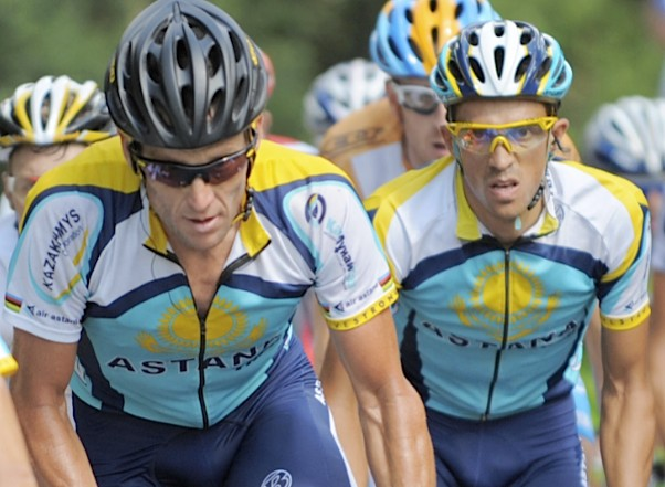 Astana teammates Lance Armstrong (L) and Alberto Contador during Stage 7 of the 2009 Tour de France.