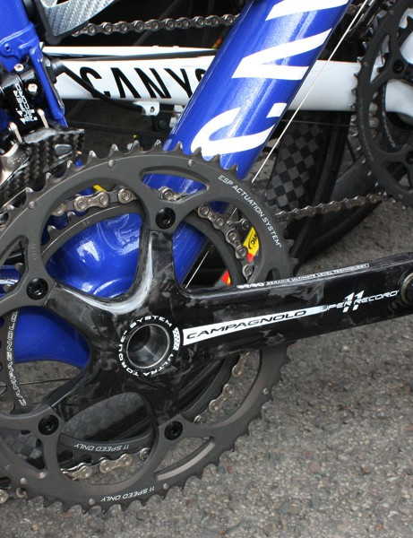 Evans is one of few riders in the peloton to use a complete Campagnolo Super Record group.