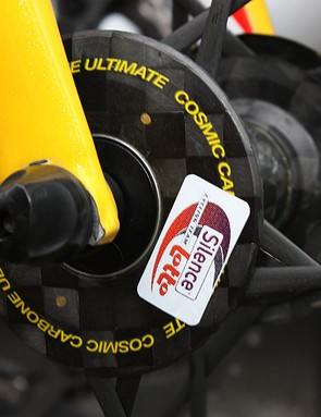 This small decal makes it easier for the team to recover its wheels at the end of stage from the Mavic neutral support crew.