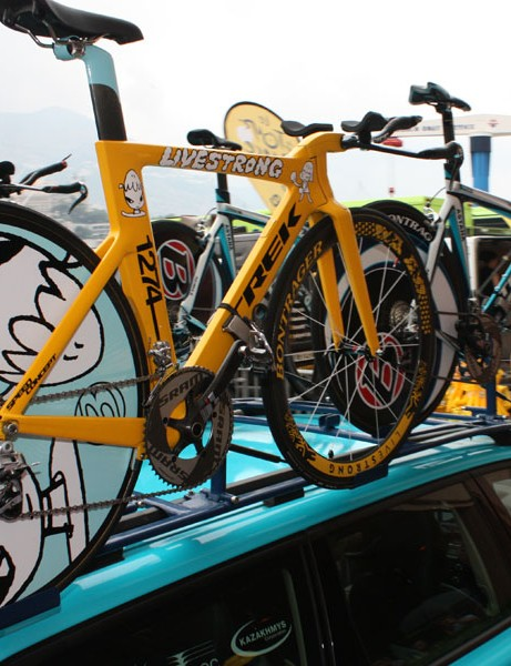 Half of the Astana team is still using Trek's Equinox TTX SSL time trial frame but Armstrong actually has two of these new Speed Concept bikes at his disposal.