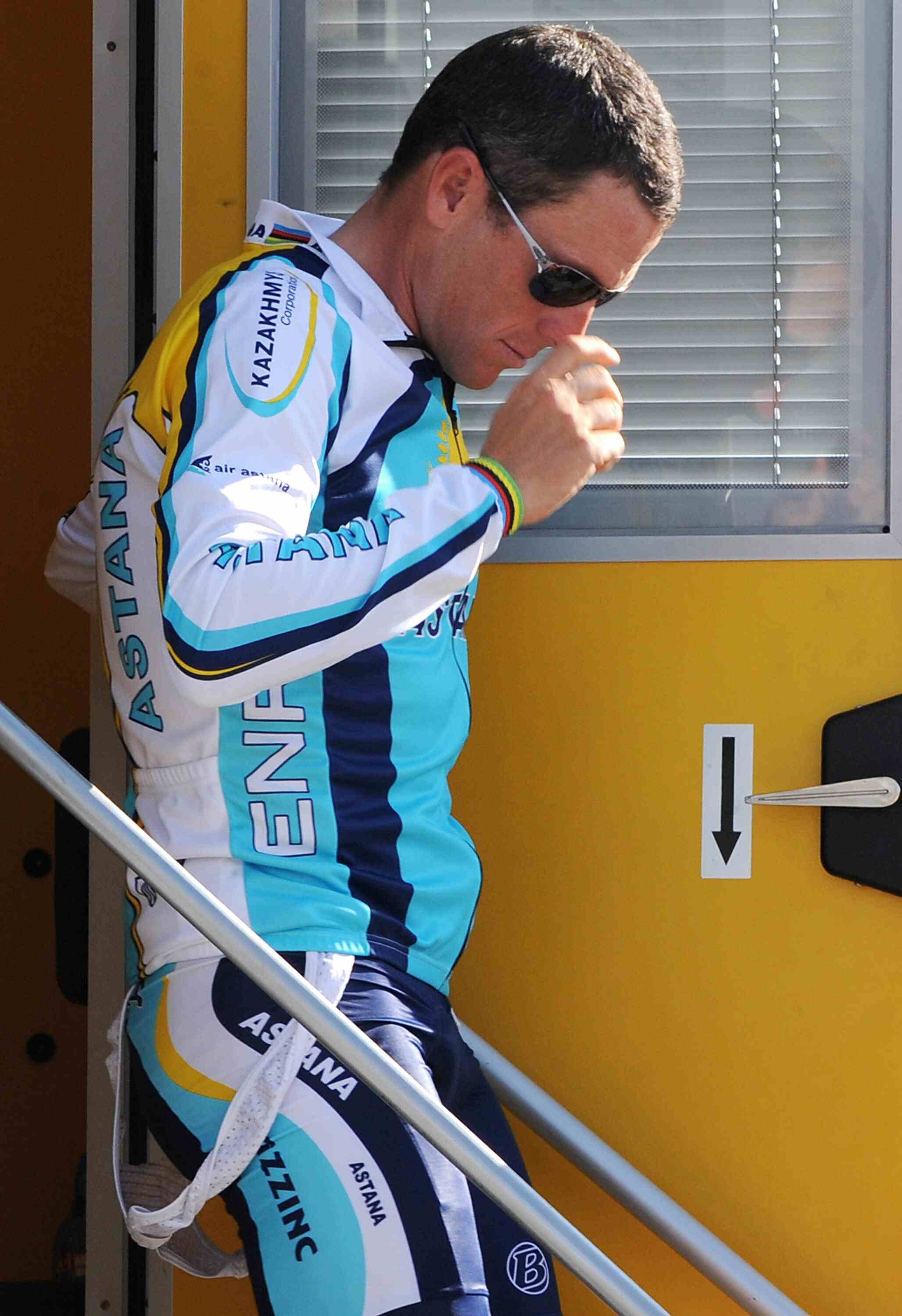 Lance Armstrong leaves the Tour's anti-doping control after the team time trial.