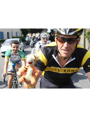 Lance Armstrong enjoys a relaxing training ride on the first rest day of the 2009 Tour de France.