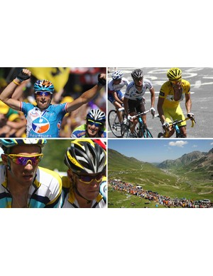 A composite photo from the last few days of racing in the 2009 Tour.