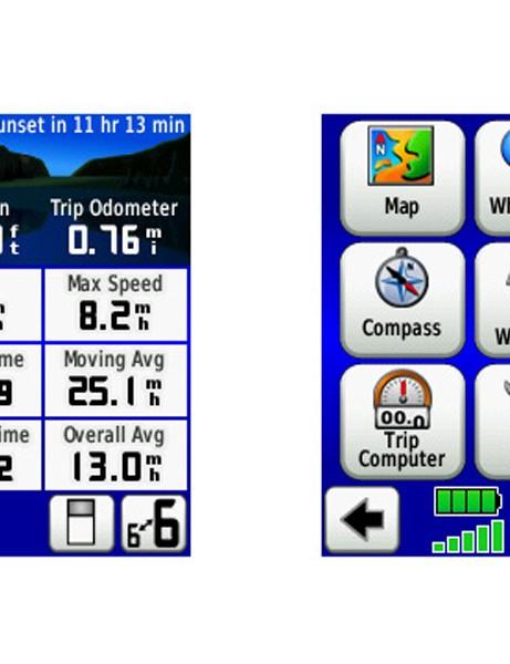 Two of the screens on the Dakota: plenty of ride info