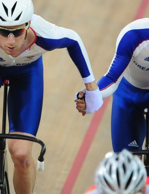 Wiggins and Cavendish during the Beijing Olympics.