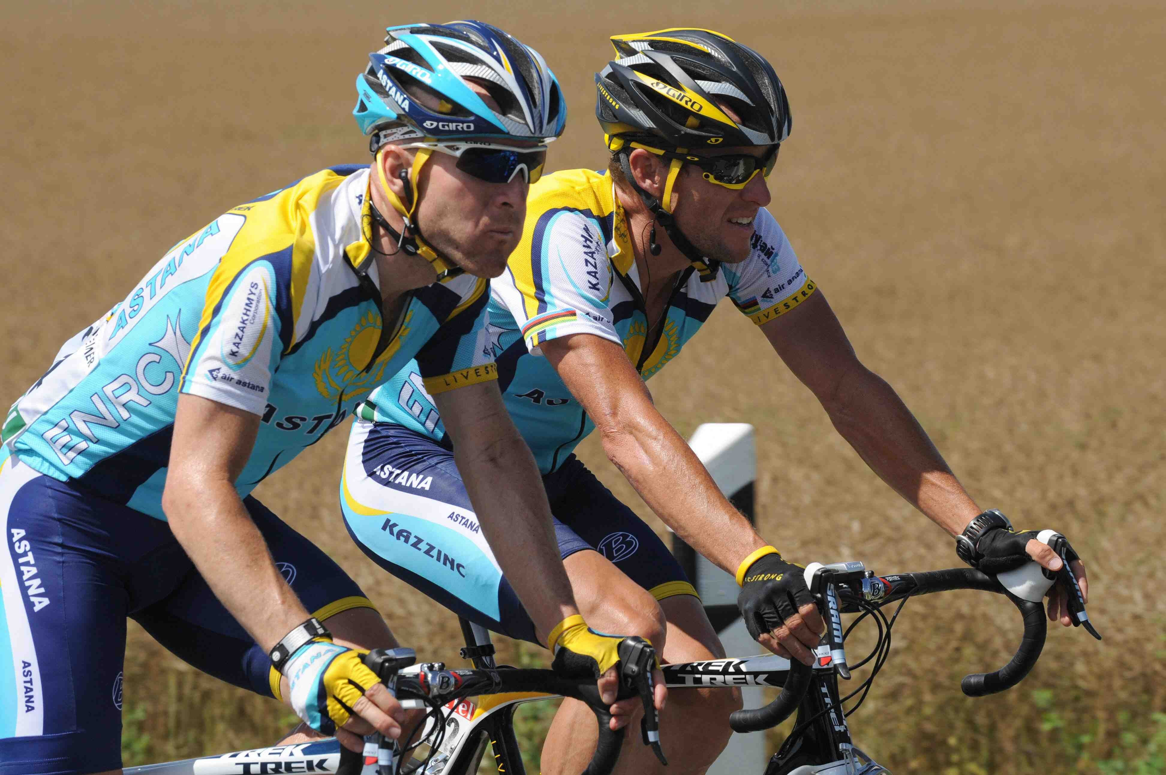 Astana teammates Levi Leipheimer and Lance Armstrong race stage 12 of the 2009 Tour de France July 16.