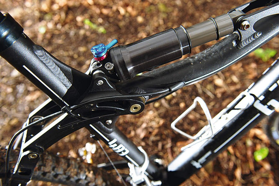 The Fox RP23 shock position looks odd, but ignore that and just enjoy the bob- free ride it gives