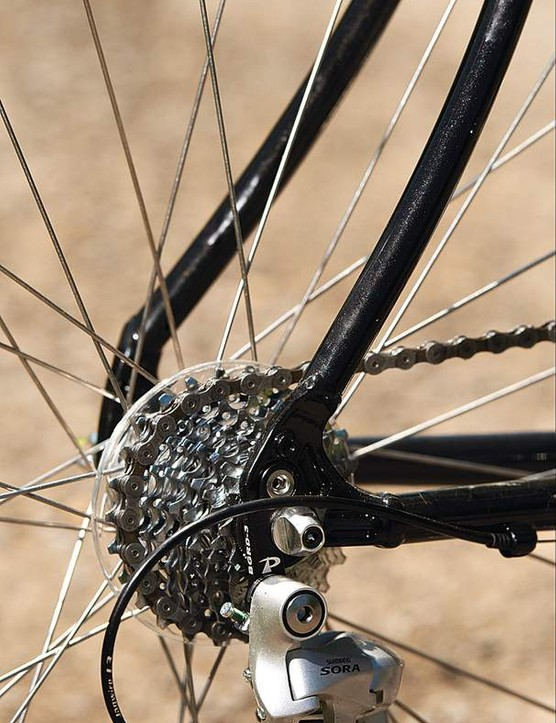 The nine-speed rear cassette goes up  to a generous 26-tooth size to ease climbing pain
