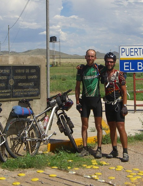 Paul at the USA/Mexico border finish with a fellow competitor