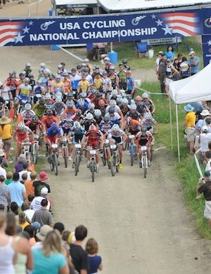 Over 50 riders took off at the start of the U23 men's cross-country contest.