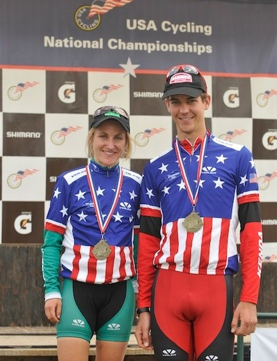 Amy Dombrowski and Colin Cares show off their Stars-andStripes after winning U23 national XC titles.
