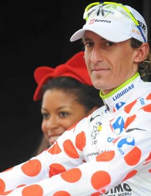 Liquigas rider Franco Pellizotti wears the mountain climber's polka dot jersey heading into the Alps Sunday.
