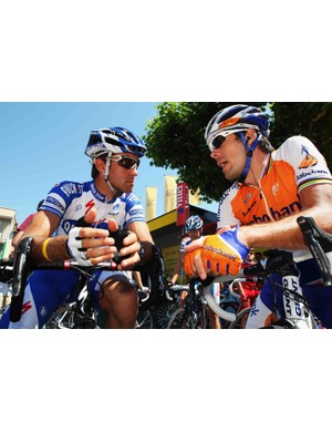 Oscar Freire of Spain and Rabobank (R) chats to compatriot Carlos Barredo of QuickStep at the start of stage nine of the 2009 Tour de France from Saint-Gaudens to Tarbes, on July 12, 2009 in Saint-Gaudens.