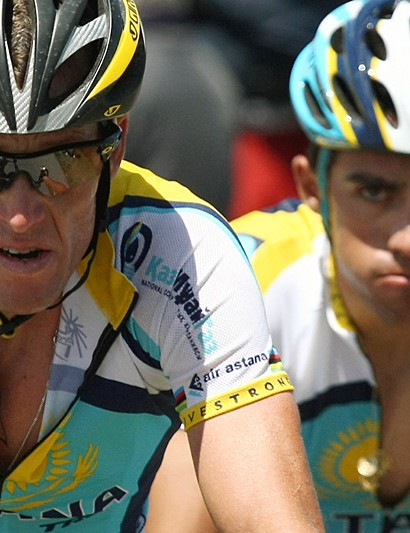 Lance Armstrong finished 1'35 behind his teammate Alberto Contador in stage 15 today