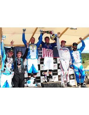 Men's downhill podium