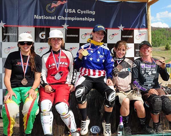 Women's downhill podium