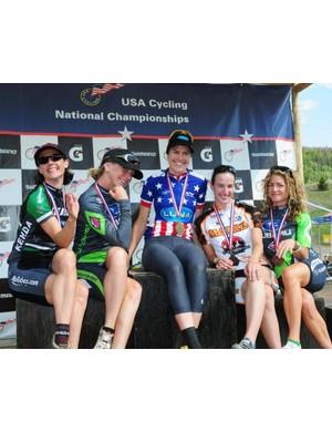 Women's short track podium