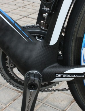 The heavily sculpted bottom bracket area is shaped for stiffness as usual but also to smooth airflow.