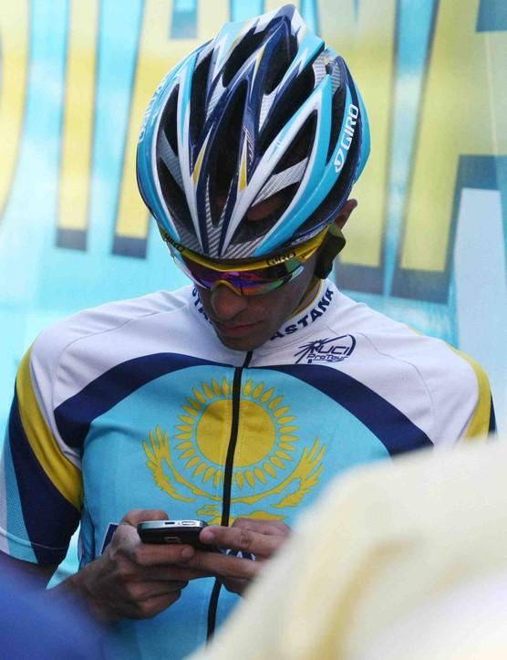 Tour leader Alberto Contador outside the Astana team truck Monday.